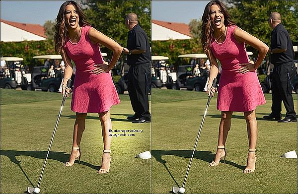 • o2 Mai 2o16 •  - Burbank, Etats-Unis. ⛳ Eva est allée au « Lakeside Golf Club » pour le « George Lopez Celebrity Golf Classic ». Tenue: Robe Eva Longoria Collection à 9o¤ & Escarpins Gianvito Rossi à 69o¤.