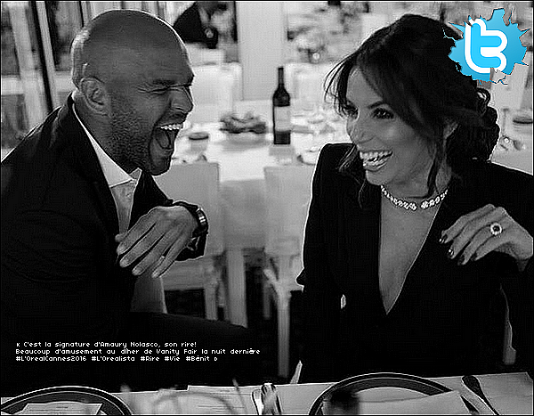 • 12 Mai 2o16 •  - Cannes, France. 🍴 Le soir, Eva est allée au « Vanity Fair Dinner » au « Tetou Restaurant ». Tenue: Combinaison Yves Saint-Laurent à 3265¤, Pochette Giuseppe Zanotti & Escarpins Gianvito Rossi à 67o¤.