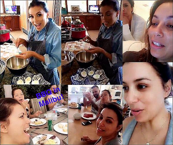 • 26 Juin 2o16 •  - Malibu, Etats-Unis. 🍴 Eva a organisé un « Barbecue » chez elle avec ses amis.