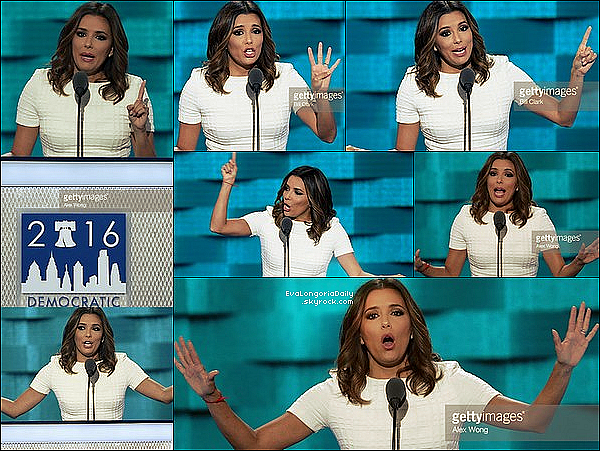  Enfin, Eva est allée au 2016 Democratic National Convention pour soutenir Hillary Clinton.  25 Juillet 2o16. Philadelphie - Etats-Unis.  Tenue: Eva porte une Robe Eva Longoria Collection à 100¤ & des Escarpins Gianvito Rossi.