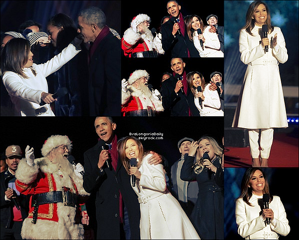 ✴️ Eva est allée au 94th Annual National Christmas Tree Lighting Ceremony qui avait lieu dans The Ellipse Park.  1er Decembre 2o16. Washington - Etats-Unis. Tenue: Eva porte un Manteau Salvatore Ferragamo, un Pull Wolford à 230¤ & des Escarpins Jimmy Choo à 535¤.