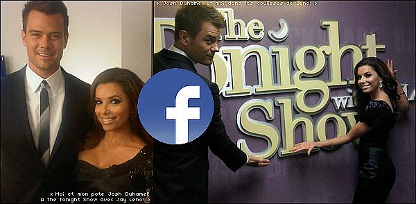 • 15 Octobre 2o1o •  - Los Angeles, Etats-Unis. 📺 Eva & Josh Duhamel étaient sur le plateau de l'émission « The Tonight Show ».  Tenue: Robe Karen Miller.