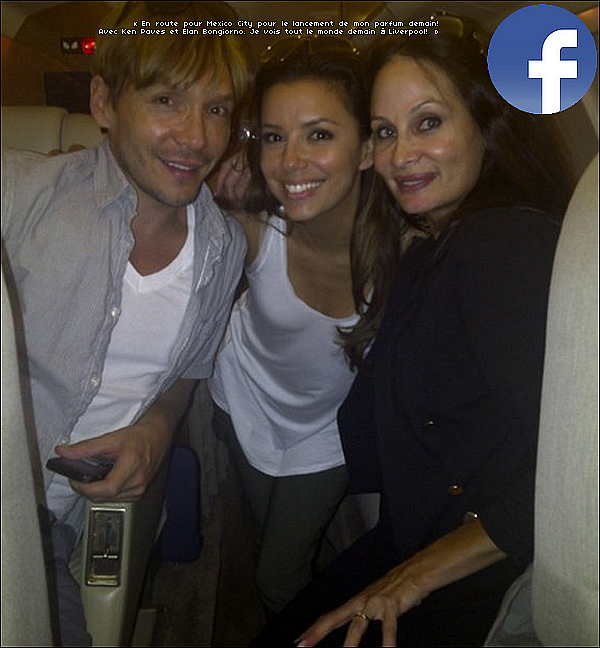 • 28 Août 2o1o •  - Los Angeles, Etats-Unis. ✈️️ Eva a posté une « Photo d'Elle, Ken Paves & Elan Bongiorno » dans un avion.