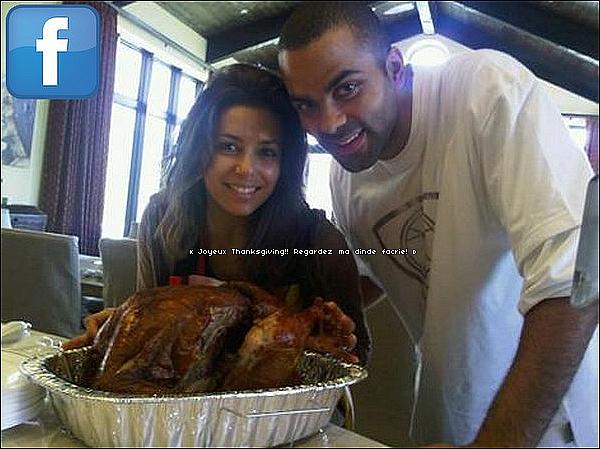 🦃 Eva a posté une photo d'elle & Tony pour Thanksgiving.  26 Novembre 2oo9. Los Angeles - Etats-Unis.