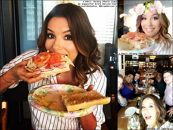 • 3o Mars 2o17 •  - Los Angeles, Etats-Unis. 🍴 Eva est allée déjeuner au « Jersey Mike's Subs » avec le Casting de Type-A.