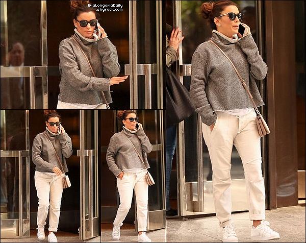 • 15 Mai 2o17 •  - New-York, Etats-Unis. 🚶 Plus tard, Eva a été vue « Quittant son Hôtel ». Tenue: Lunettes Victoria Beckham à 33o¤ & Baskets Adidas à 75¤.
