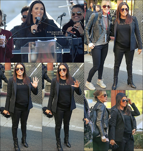 • 2o Janvier 2o18 •  - Los Angeles, Etats-Unis. 🚶 Eva, et d'autres personnalités féminines, a participé à la « LA Women's March » pour Times'Up. Tenue: Pull Time's Up à 2o¤.