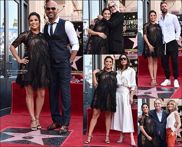 ✴️ Eva a Reçu son étoile sur le Walk of Fame entourée de sa famille & de ses amis.  16 Avril 2o18. Hollywood - États-Unis. Tenue: Eva porte des Escarpins Gianvito Rossi.