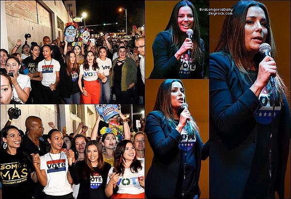 • o4 Novembre 2o18 •  - Miami, Etats-Unis. ⭐ Eva est allée au « Ball & Chain Restaurant » pour le « Latinas Stand Up Rallye ».