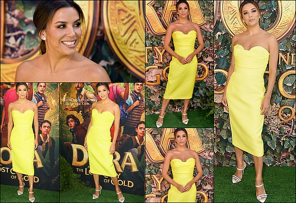 • 28 Juillet 2o19 •  - Malibu, Etats-Unis. ⭐ Eva est allée à la « Premiere de Dora and the Lost City of Gold » au « Regal LA Live ». Tenue: Robe Vitor Zerbinato & Escarpins Oscar Tiye.