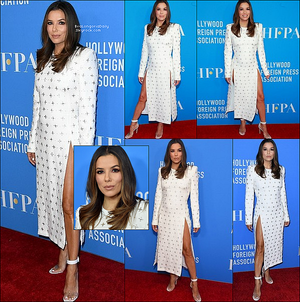 ⭐ Puis, Eva est allée au Hollywood Foreign Press Association's Annual Grants Banquet qui se déroulait au Beverly Wilshire Hotel.  31 Juillet 2o19. Beverly Hills - Etats-Unis. Tenue: Eva porte une Robe Vitor Zerbinato & des Escarpins Gianvito Rossi.