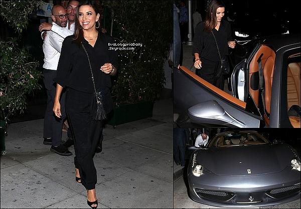 🍴 Eva & Pepe sont allés dîner à Mr Show Restaurant dans leur nouvelle Ferrari.  o4 Septembre 2o19. Beverly Hills - Etats-Unis. Tenue: Eva porte un Sac Chanel.
