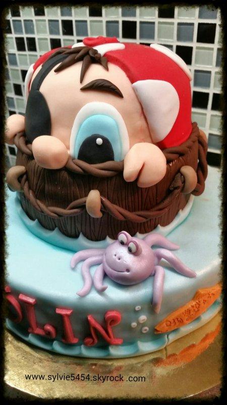 Mon gâteau sur le thème de pirate pour l'anniversaire de Colin 8 ans