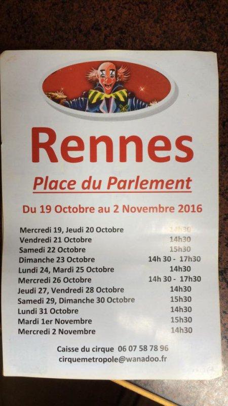 Tournées des cirque en Bretagne :