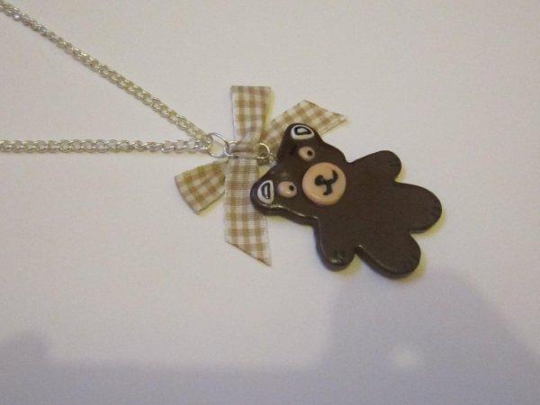 collier nounours au chocolat avec noeud vichy marron clair