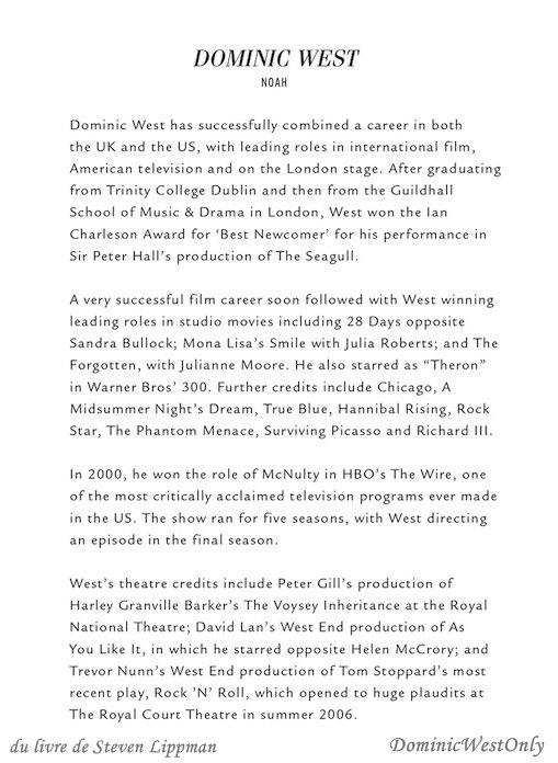 petite page  sur Dominic dans le livre de Steven Lippman ,The Affair