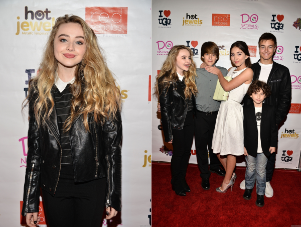 Sabrina à la fête d'anniversaire de son amie et co-star Rowan Blanchard le 2 novembre. On y voit également le cast de Girl Meets World