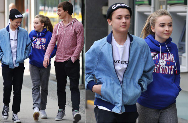 "Sabrina sur tournage de ""Further Adventures in Babysitting"" le 11 avril"