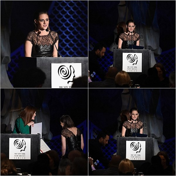-- 04/01/16: Kris a assisté à la soirée des New York Film Critics Circle Awards prix remis par Julianne Moore Kristen porte un ensemble en cuir et dentelle et une montre Chanel. Stylisme par Tara Swennen, coiffure par Harry Josh et maquillage par Linda Hay. Quand pensez vous? --