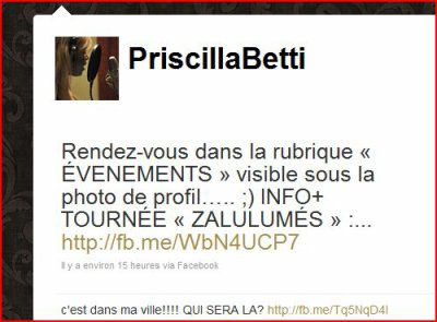 Twite de Priscilla d'aujourd'hui