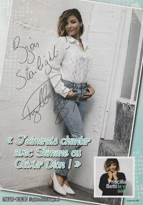 Priscilla dans le magazine Starlight de ce mois de mai