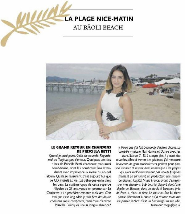 Nice-Matin consacre un article au nouvel album
