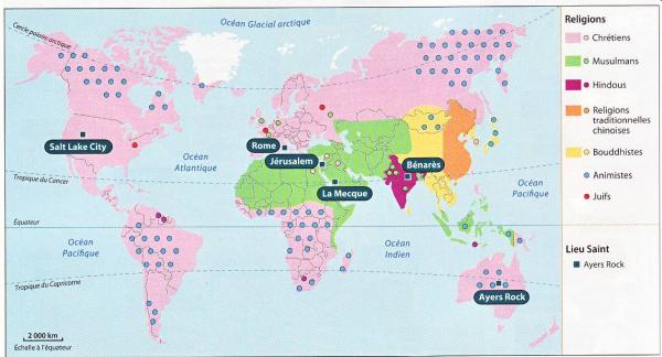 Carte Du Monde Des Religions.Carte Des Religions Dans Le Monde Bordas 4eme Edition 2011