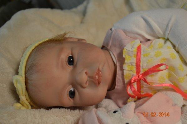 Alice bébé reborn de 2,200 kg mesure 55 cm est née le 11/02/2014 yeux en verre . Adoptée