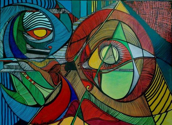 """N°31   60x80 Acrylique ,encre de chine """"AIRENCE spirituelle"""" 680.00¤"""