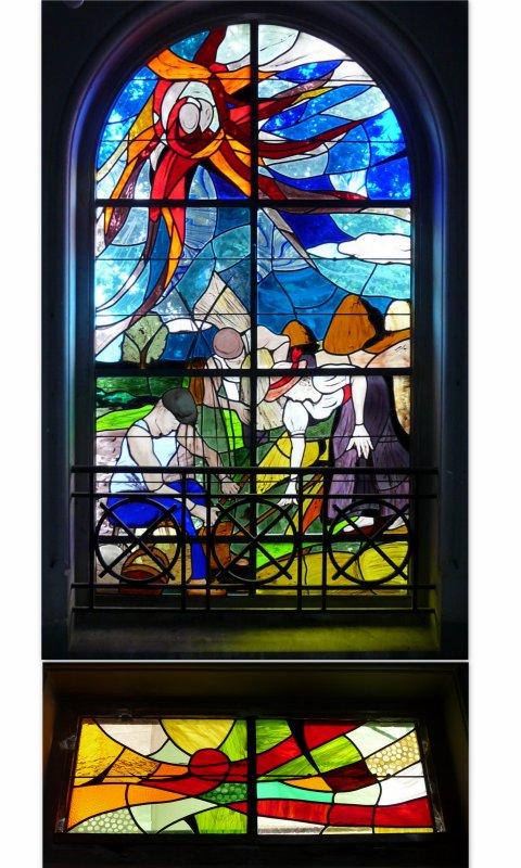 """132 - Vitrail ancien et nouveau sur le thème de """" la vie des champs"""" en l'église St Amé -"""