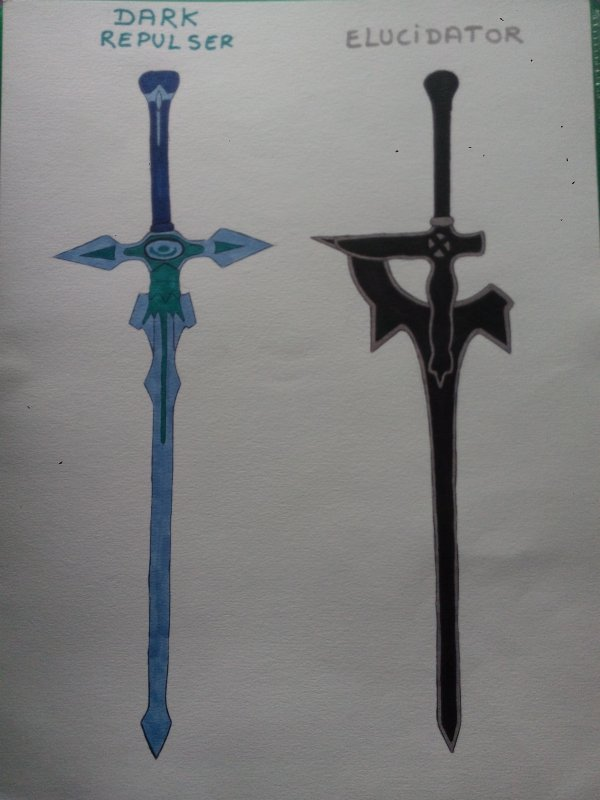 Dessins Sword Art Online : Kirito et ses épées