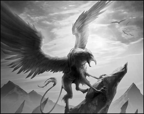 LE LÉGENDAIRE GRIFFON( Aussi coonu sous le nom de Grype, ce gigantesque animal habitait les montagnes)
