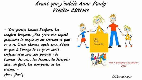 Avant que j'oublie Anne Pauly aux éditions Verdier