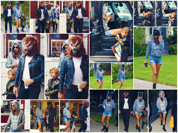 -─ 31/10/17-' : Alessandra Ambrosio à été photographiée en célébrant Halloween avec sa famille dans ▬ « Brentwood » !  Petite sortie en famille pour notre ange de chez Victoria Secret, Alessandra fête halloween avec sa petite famille c'est un TOP pour sa tenue-déguisement.