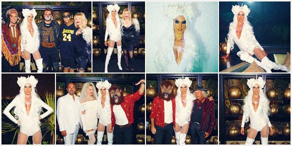 -─ 31/10/17-' : Alessandra Ambrosio à été photographiée présente lors de la soirée ▬ « 24K Halloween » à Los Angeles !  Alessandra prend la pose avec son fiancé (en loup garou) dans un déguisement très sexe je la trouve vraiment magnifique c'est donc pour moi un - TOP.