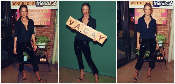 -─ 09/11/17-' : Alessandra Ambrosio à été photographiée lors du lancement de « Words with Friends 2 » à W.Hollywood  Seulement trois photos de disponible lors de cet événement, au niveau de la tenue Alessandra porte une tenue encore une fois sombre c'est un ▬ TOP.