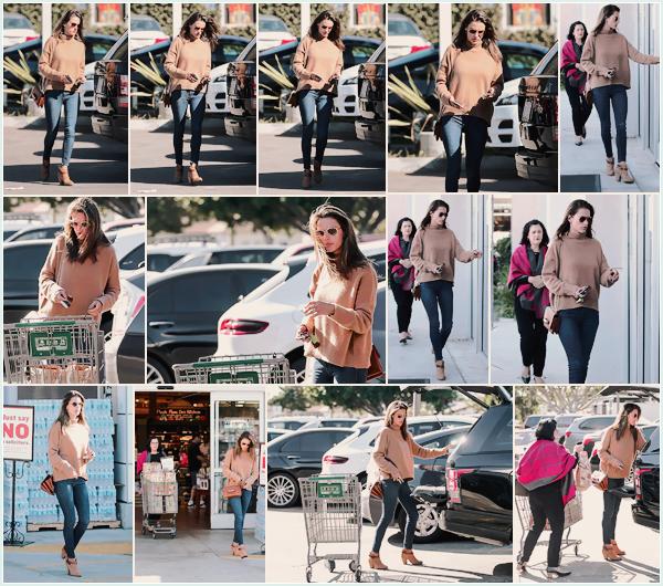 -─ 22/01/18-' : Alessandra Ambrosio à été photographiée allant faire des courses avec sa mère dans « Santa Monica » !  Pour cette sortie notre mannequin porte une tenue assez simple, mais je suis fan de la couleur de son haut. C'est donc pour ma part un - TOP pour Ale.
