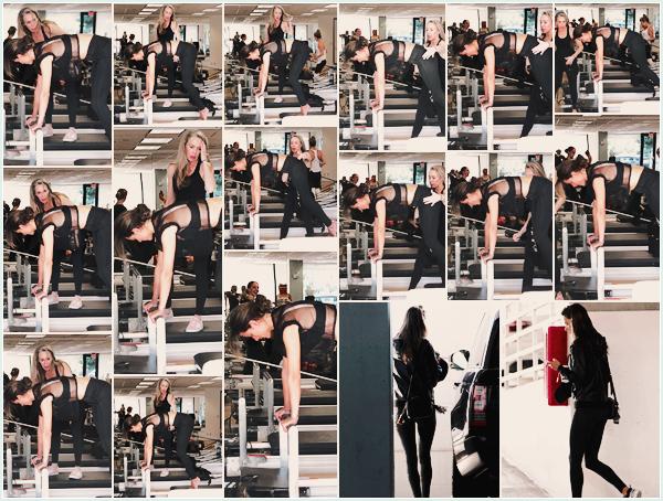 -─ 26/01/18-' : Alessandra Ambrosio à été photographiée lors de son cours de pilates dans « Santa Monica » à Los - A !  Alessandra à été prise en photo pendant qu'elle était en train de mettre son corps en forme avec une coach. Au niveau de la tenue c'est très joli ▬ TOP.