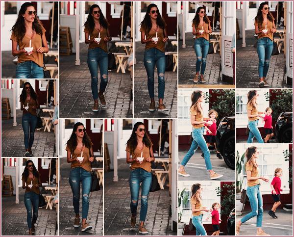 -─ 30/01/18-' : Alessandra Ambrosio à été aperçue mangeant une glace avec son fils dans les rues de « Los Angeles » !  Nouvelle sortie pour notre maman, qui passe du temps avec son fils Noah. Au niveau de la tenue d'Alessandra c'est pour ma part un - TOP bien mérité.