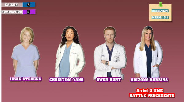 Nominations 3 : Christina / Izzie / Owen / Arizona