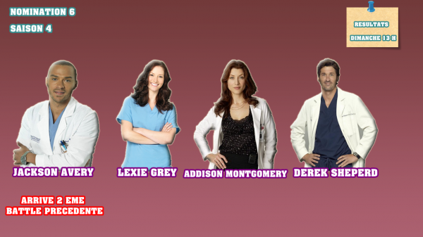 Nominations 6 : Jackson / Lexie / Addison / Derek