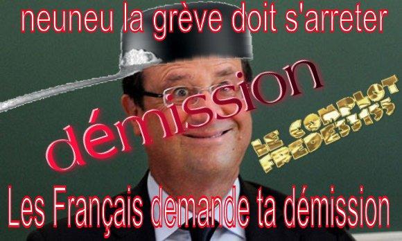 neuneu la gréve doit s'arrêter nous français on demande ta démission