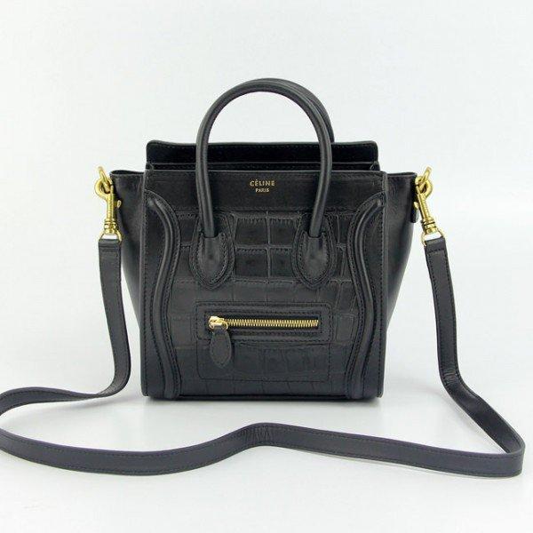 Sac Celine Luggage Nano motif crocodile Noir