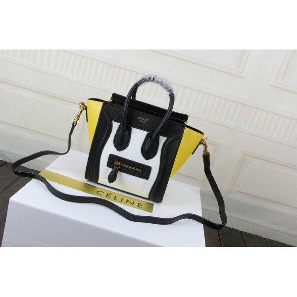 Sac Celine Luggage Nano Blanc / Noir / Jaune