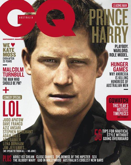 Le Prince Harry en couverture de GQ Australie