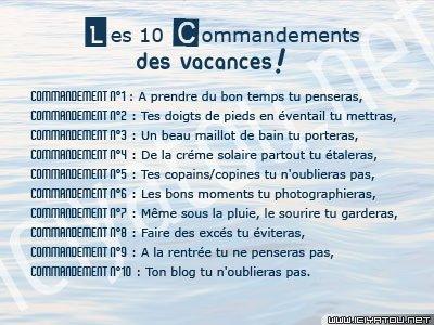 LeS 10 cOmMeNdEmEnTs DeS VaCaNcEs !!!!