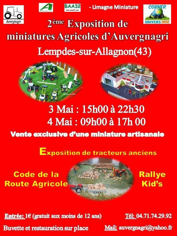 Voici l'affiche de l'exposition organisée par le Corner UniversMini / Association Auvergnagri les 3 et 4 mai prochain. Il reste encore de la place pour des exposants qui voudraient venir. Merci de contacter les organisateurs à auvergnagri@yahoo.fr si vous êtes intéressés.