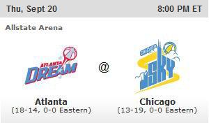 WNBA : Chicago Sky 66 - Atlanta Dream 75