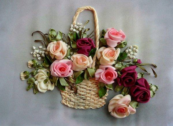 Panier de rose au ruban