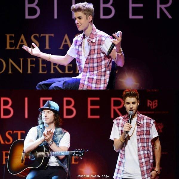 Justin lors d'une conférence de presse , hier .